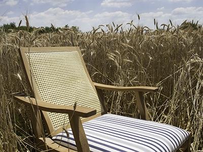 Chaise longue Adriatica rembourrée en Viareggio blanc / bleu